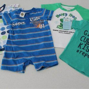 Lot 4 pc Size 0 Baby Boy Clothes Rompers Tees